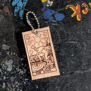 The Star Tarot Card Leather Keychain NWT